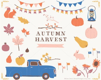 Autumn Harvest - Hand Drawn Clip Art Vintage Chevy Truck Pumpkin Pear Apple Fig Pomegranate Banners Lantern Fall Leaves Tree Branches Bunny