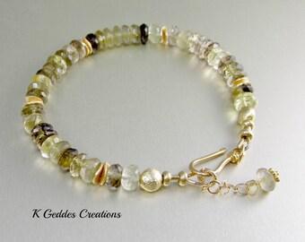 Bi Color Lemon Quartz Bracelet Smoky Quartz, Gold Vermeil, Gold Gemstone Bracelet, Bi Color Bracelet SALE