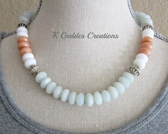Amazonite Statement Necklace, White Jade, Aventurine, Sterling Silver, Gemstone Color Block Chunky Necklace