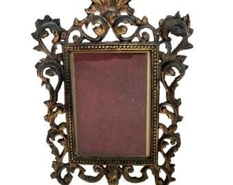 Large Ornate Ormolu Gold Gilded Cast Iron Picture Frame // Vintage Metal Photo Tabletop Frame//Hollywood Regency//Mid Century