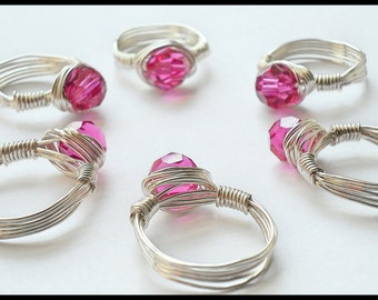 Silver Wrapped Wire Ring with Fuchsia Swarovski Crystal, Fuchsia Ring, Handmade Wire Wrapped Crystal, Wire Wrapped Jewelry, Wire Jewelry