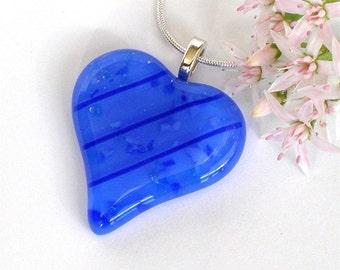 Heart Pendant Necklace -  Royal Blue Fused Glass Jewelry - Cobalt Aquamarine