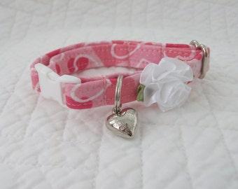 Valentine   Cat Collar with bell   Wedding Cat  Breakaway Collar Custom Made