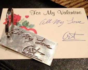 Memorial Keychain in Your Actual Loved Ones Writing-Silver or can be a Pendant