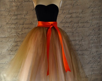 Women's tulle skirt in antique gold over peach lined in champagne satin with satin sash waist. Your choice of sash color.