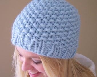 Blue Knit Chunky Hat, Chunky Knit Beanie Hat, Pale Blue Knit Hat, Winter Trends, Big Knit Light Blue Hat, Knit Blue Toque, Knit Cap in Blue