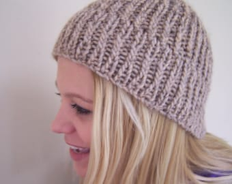 Chunky Knit Ribbed Hat In Tan Grey, Alpaca Merino Wool Toque, Merino Wool Beanie In Grey and Tan, Fall Trends, Knit Hat for Men Women, Ombre