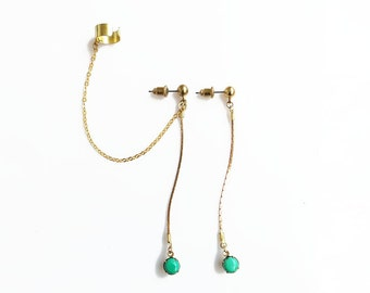 Turquoise Ear Cuff Earrings, Gold Chain ear Cuff Earrings Set, Non Pierced Ear Cuff Earrings