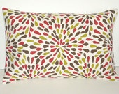 Pillow Cover. Red. Brown. Green. Ivory. 12 x 18. Decorative Pillow Cover. Accent Pillow Cover