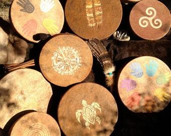 "CUSTOM TOTEM DRUM - Shamanic Totem Frame Drum -w- custom or offered totem designs - 14"" diameter"