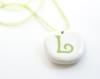 ceramic pendant and beaded necklace - letter L in chartreuse green