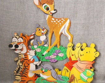Disney , Wall Decor , Paper Board , Wall Characters , Disney Characters , Winnie the Pooh , Tigger , Vintage Child , Bambi , Collection
