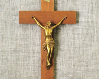 Crucifix , Cross , Mid - Century , Wooden Cross , Religious Icon , Religion , Jesus , Vintage Wooden Cross , Religious Wall Decor , Altar