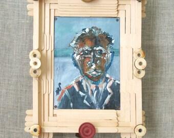 Folk Art Male Portrait Painting, Handmade Frame, Wil Shepherd Studio, Portraiture of Men, Original Fine Art, Small Paintings of Men