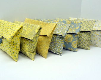 READY TO SHIP Yellow and Gray Clutches Set of 7 Makeup Bags Bridesmaid Gift Set