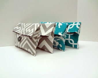 READY TO SHIP Custom Bridesmaid Clutches in Turquoise and Gray  -  Turquoise Wedding  Set of 4