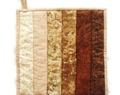 Quilted Potholder  / Hotpad -- Ombre Sand Colored Colorwash in Shades from Ecru to Dark Brown with Brown Tropical Backing
