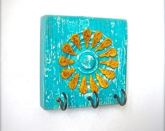 Antique Architectural Salvage Rustic Sunflower Wall Art Jewelry Display Necklace Hooks Key Organizer Aqua Turquoise Decor, Mother's Day Gift