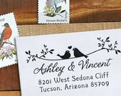 Custom Address Stamp - Wedding Stamp - Eco Mount - Twigs Two Birds In Love