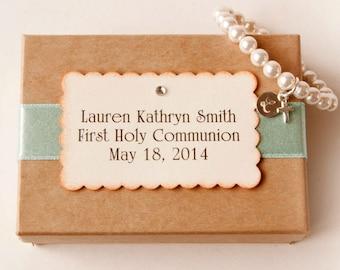 FIRST HOLY COMMUNION - Personalized religious kids jewelry bracelet with cross  - baby girl pearl bracelet - baby jewelry
