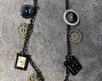 Steampunk Necklace- Black and Gold
