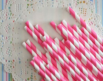 25 Pcs - Paper Straws - Pink Paper Straws -  Party decor - set of 25- Ready to ship