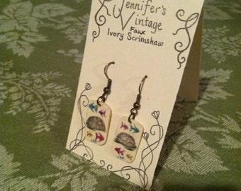Scrimshaw Earrings Sea Turtle and Fish OOAK