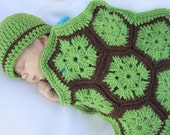 Crochet Turtle Cover and Hat, Green and Brown Turtle Photo Prop with Hat and Blanket, Baby Photo Prop