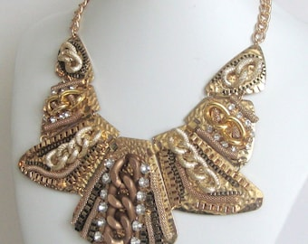 Unique Mixed Metal Bib by Ashlee Collection on Etsy