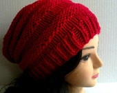 Red Knitted Beehive Hat, Accordion Hat, Womans Hat, Womans Accessories, Winter Hat, Fashion, MADE TO ORDER