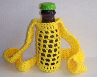 Yellow Crochet Water bottle Holder, Water Bottle Cozy, Festival Water Holder, Water Bottle Cover, Water Bottle Carrier