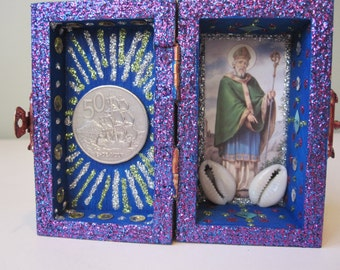 St. Patrick mini nicho, Catholic altar, Voodoo shrine, folk art