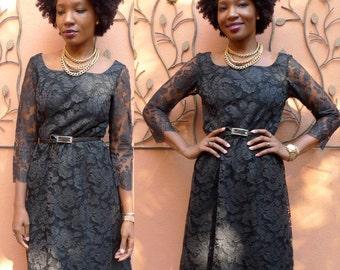 Vintage 50s Dress/ Black Lace Dress / Vintage Party Dress