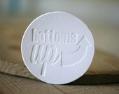 Letterpress Coasters - Bottoms Up coasters