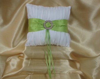 White Ring Bearer Pillow with Apple Green Trim