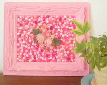Pink Flower Mosaic - Vintage pink plastic beads - Kitsch Picture - Plastic ornate frame - Mixed Media - Girls Nursery Art- Retro Wall Art