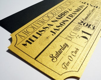 Old Hollywood, Art Deco, Gold Movie Ticket Wedding Invitation