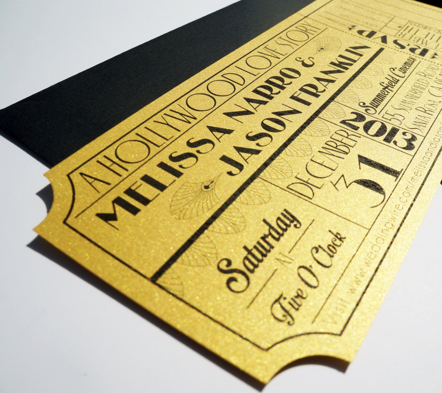 Old Hollywood Art Deco Gold Movie Ticket Wedding Invitation