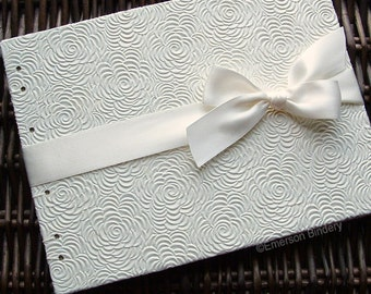 Unique Wedding Guest Book, Ivory Guest Book, Bridal Shower Guest Book, Ivory Roses {MADE upon ORDER}