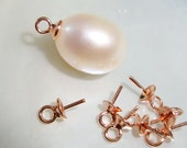 6 pcs, 7x4mm, Rose Gold 925 Sterling Silver Link Cup and Peg Drop, For Half drilled pearls and beads