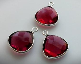 Ruby Quartz Sterling silver Pendant, Handmade Ruby Quartz  Small Sterling Silver Bezel Rim Pendant, 14x17mm,1 pc