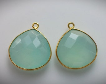 20x22mm,1 pc, Aqua Blue Chalcedony Gold Vermeil Pendant, Handmade 24K Gold Vermeil Bezel Rim Pendant