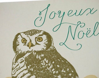 SALE - Letterpress Christmas Holiday Card - Chouette Noël - 60% off
