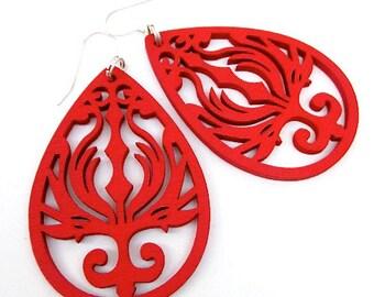 Red Wood Earrings -- Laser Cut Wood Earrings -- Wooden Drop Earrings -- Big Red Earrings -- Red Drop Earrings -- Red Teardrop Earrings