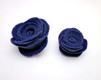 Purple Pin Accessory -- Felt Flower Pin -- Purple Felt Flower -- Dark Purple Clip -- Purple Felt Brooch -- Felt Pin -- Dark Purple Pin