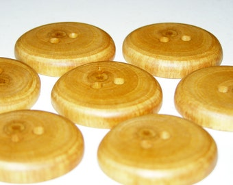 "7 Handmade  plum  wood buttons, accessories (1,26"" diameter x 0,28"" thick)"