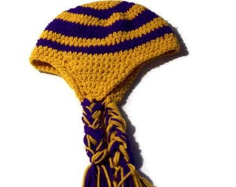 Unisex Adult Earflp Hat Gold & Purple Large  Crochet Colorful Hat