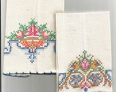Antique Finger Tip Towels,Muslin, Embroidered, Handmade, 1920s