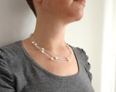 Double chain necklace white freshwater pearls women's minimalist necklace