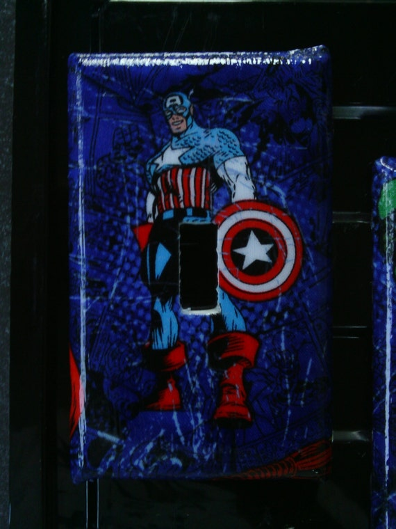 Marvel Avengers Wolverine Spiderman Hulk Iron Man Captain America Thor Single Toggle Light Switch Cover Plate